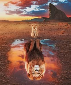 Lion Reflection In Water paint by numbers