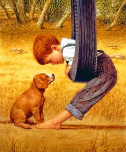 Little Boy with His Pet paint by numbers