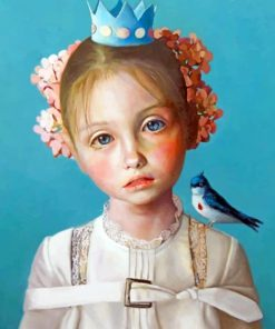 Little Girl And Bird paint by numbers