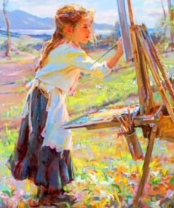 Little Girl painting paint by numbers