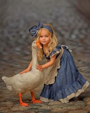 Little Girl With A White Duck Paint by numbers