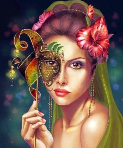 Masked Woman paint by numbers
