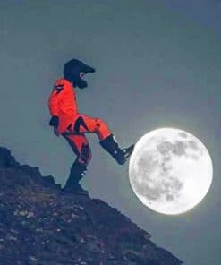 Motocross Pushing The Moon Paint by numbers