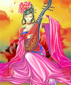 Musician Asian Woman paint by numbers