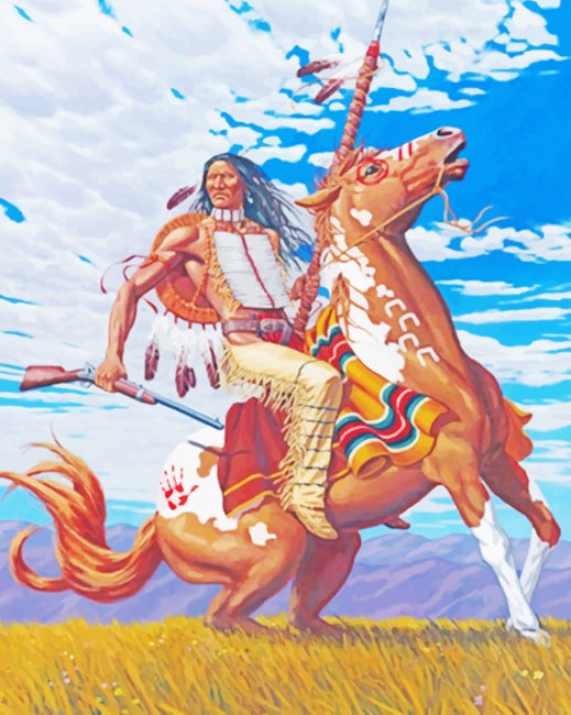 Native American On Horse paint by numbers