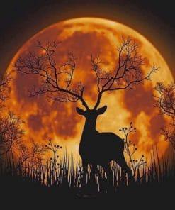 Night Moon Deer Silhouette paint by numbers