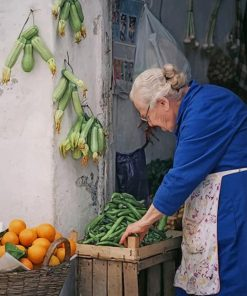 Old Woman Selling Fruits And Vegetables Paint by numbers