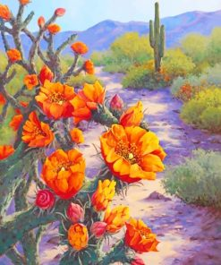 Orange Flowers And Cactus Paint by numbers