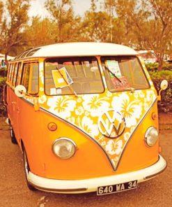 Orange Hippie Van paint by numbers