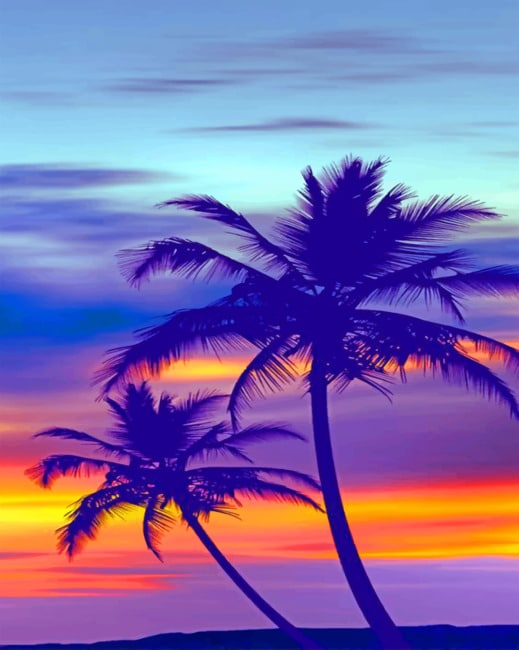 Palm Tree Purple Sunset paint by numbers