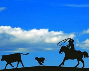 Rancher Roping Cattle Silhouette Paint by numbers