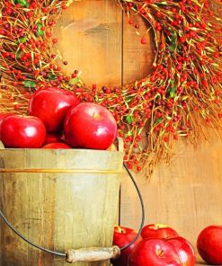 Red Apples In Basket paint by numbers