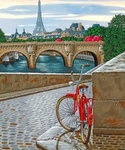 Red Bike In Paris Paint by numbers