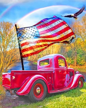 Red American Truck And Flying Eagle paint by numbers