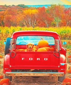 Dog And Pumpkins In A Red Truck Paint by numbers