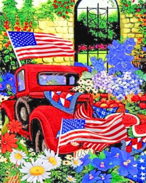 Red American Truck paint by numbers