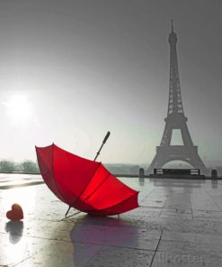 Red Umbrella In Paris paint by numbers