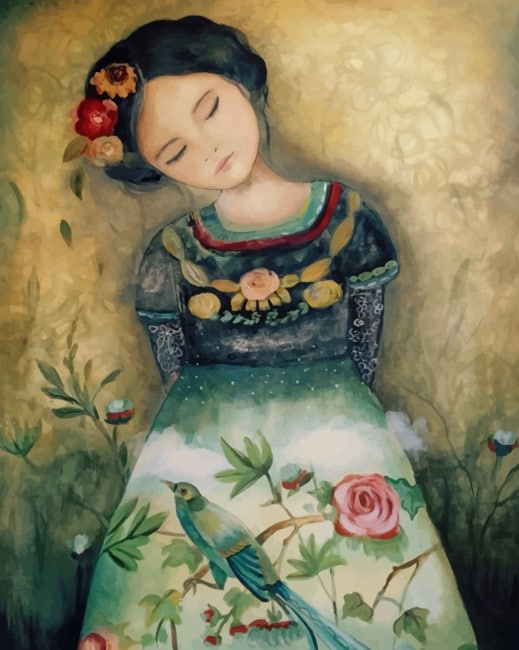 Sleepy Asian Girl paint by numbers