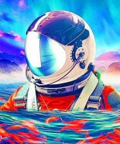 Space Man Swimming paint by numbers