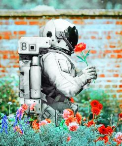 Space Man With Flowers paint by numbers