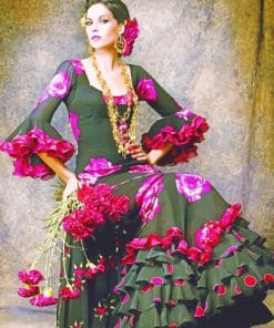 Spanish Lady Wearing Gypsy Dress paint by numbers