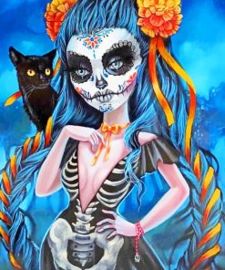 Sugar Skull Woman With A Black Cat paint by numbers