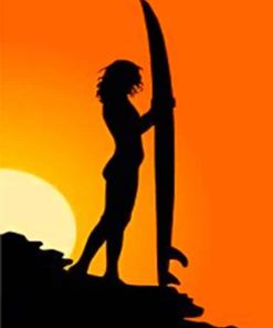 Surfer Silhouette Paint by numbers
