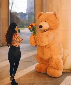 Teddy Bear Giving Flowers To A Lady paint by numbers