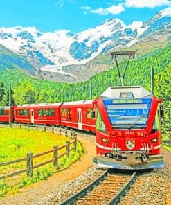 Train Scenery Switzerland paint by numbers