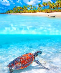 Tropical Beach Sea Turtle paint by numbers