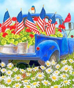 Truck Floral Garden paint by numbers