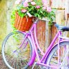 vintage bike with flower basket paint by numbers