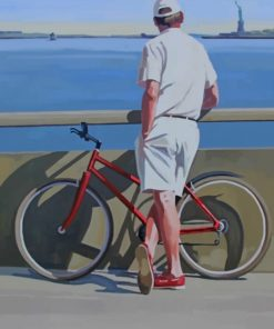 Vintage Man With His Bicycle paint by numbers