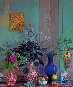 Vintage Vases Of Flowers Paint by numbers