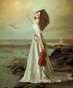 Vintage Violinist On The Beach paint by numbers