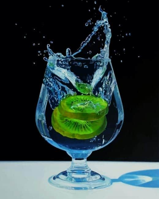 Kiwifruit In Water Glass Paint by numbers