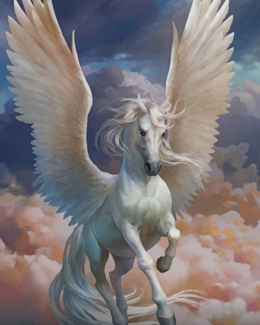 White Pegasus paint by numbers