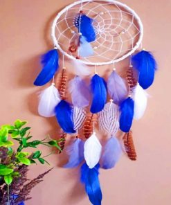 White And Blue Dream Catcher paint by numbers