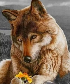 Brown Wolf And Flowers paint by numbers