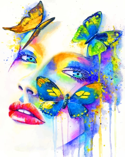 Woman And Butterflies paint by numbers