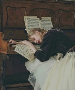 Woman Asleep On A Piano Paint by numbers