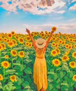 Woman In A Filed Of Sunflowers Paint by numbers