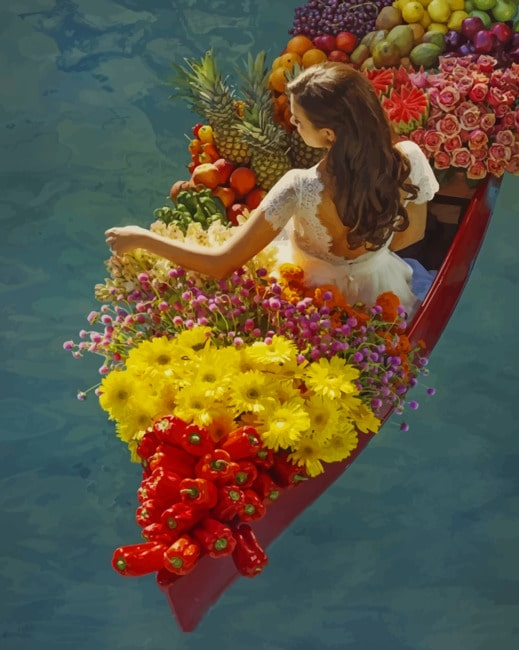 Woman On A Boat Full Of Flowers Paint by numbers