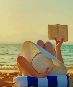 Woman Reading A Book On The Beach Paint by numbers