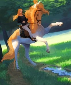 Woman Riding Horse Paint by numbers