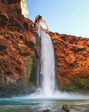 Waterfall Woman Paint by numbers