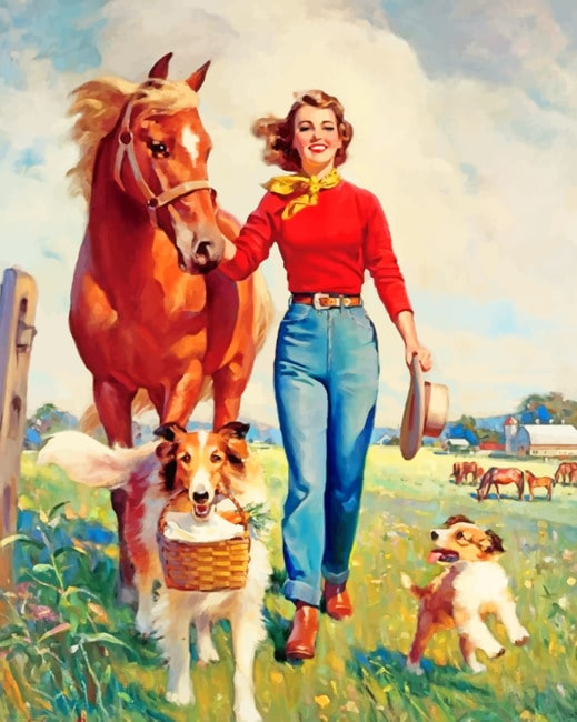 Woman With Her Animals Paint by numbers