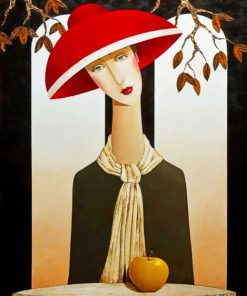 Woman With Red Sunhat Paint by numbers
