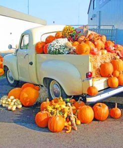 A Truckload Of Pumpkins Paint by numbers