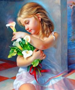 Beautiful Little Girl With Flowers Paint by numbers